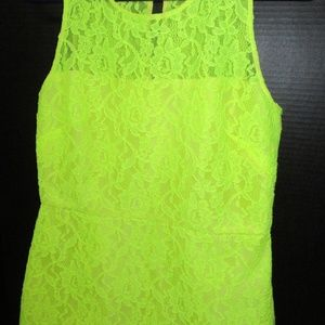 J. Crew Yellow Neon Lace Sheath Dress Party 4